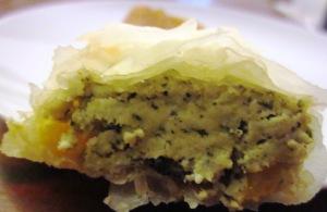 מאפה טבעוני עם בולגרית, פלפל קלוי ופטריות
